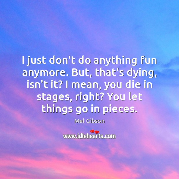 I just don't do anything fun anymore. But, that's dying, isn't it? Mel Gibson Picture Quote