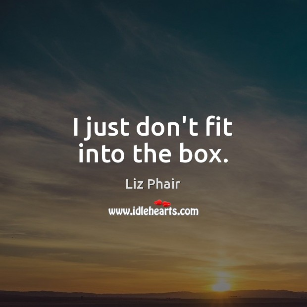 I just don't fit into the box. Liz Phair Picture Quote