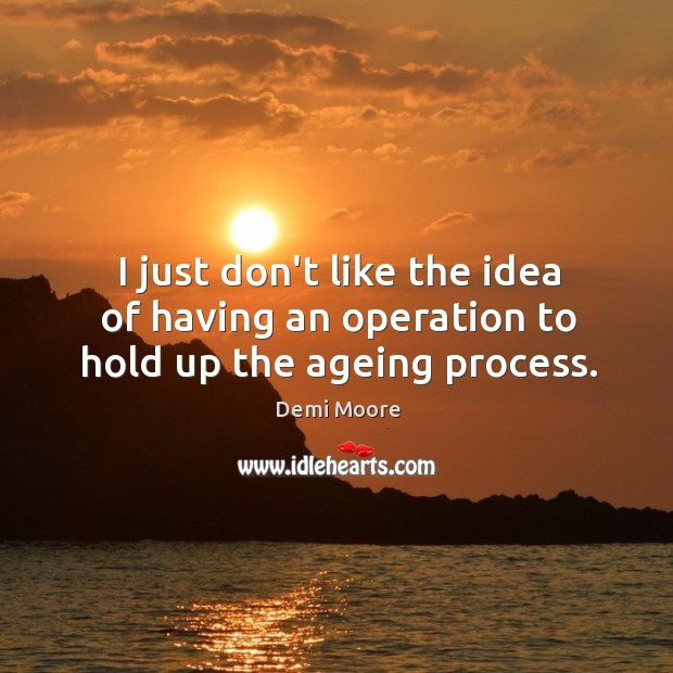 I just don't like the idea of having an operation to hold up the ageing process. Demi Moore Picture Quote