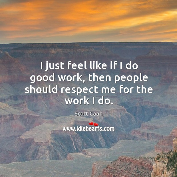 I just feel like if I do good work, then people should respect me for the work I do. Scott Caan Picture Quote
