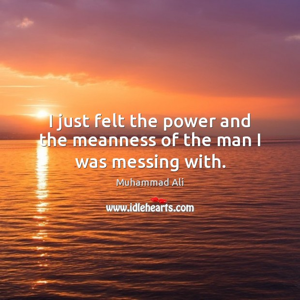 I just felt the power and the meanness of the man I was messing with. Muhammad Ali Picture Quote