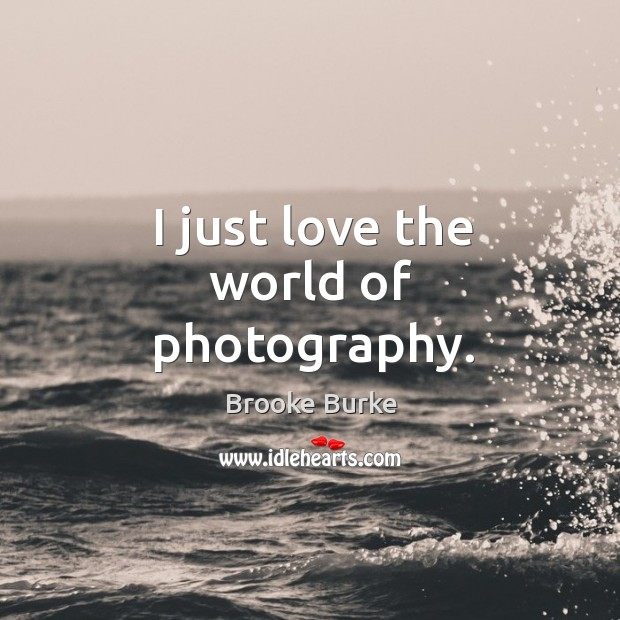 I just love the world of photography. Brooke Burke Picture Quote