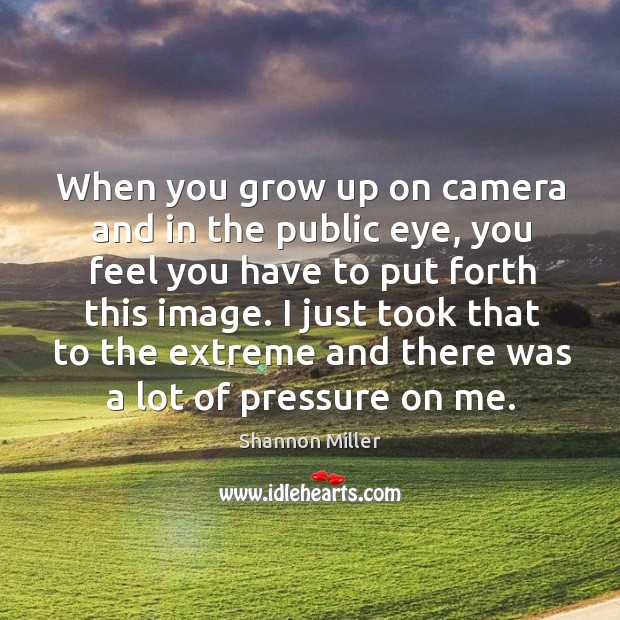 I just took that to the extreme and there was a lot of pressure on me. Shannon Miller Picture Quote