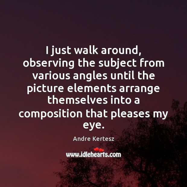 I just walk around, observing the subject from various angles until the Image