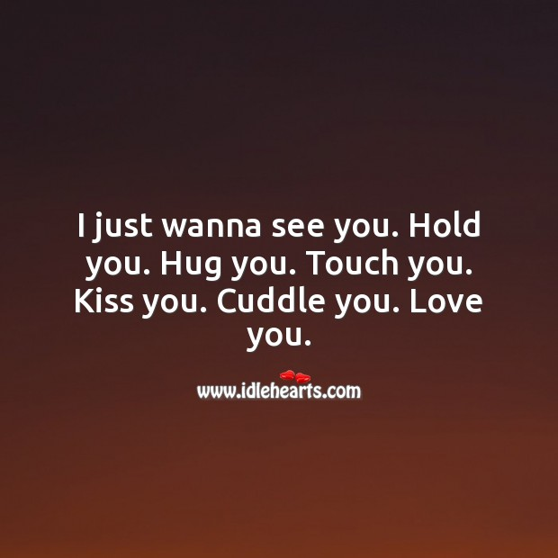 I just wanna see you. Hold you. Hug you. Touch you. Kiss you. Cuddle you. Love you. Cute Love Quotes Image