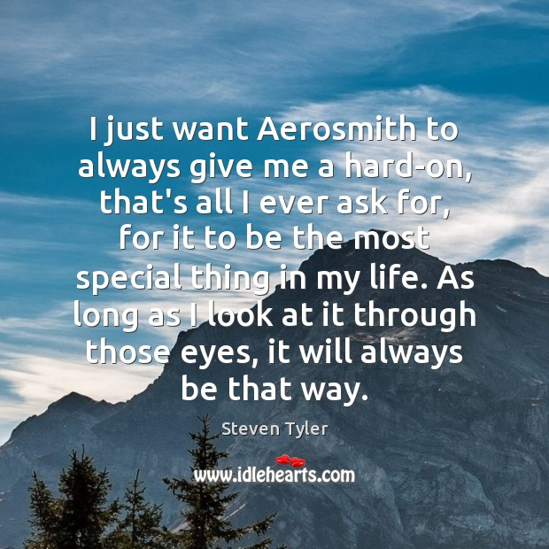 I just want Aerosmith to always give me a hard-on, that's all Steven Tyler Picture Quote