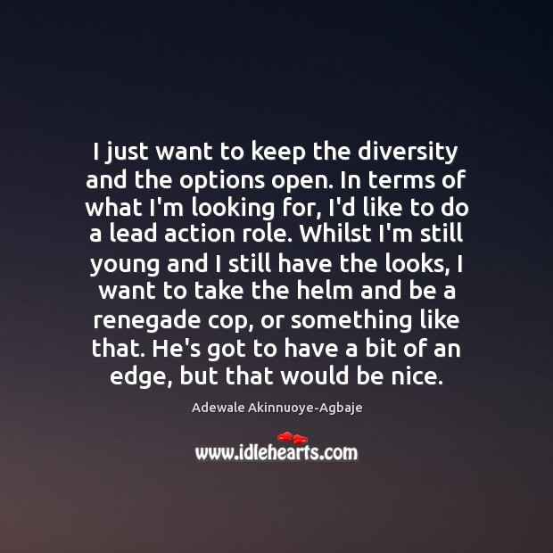 Image, I just want to keep the diversity and the options open. In