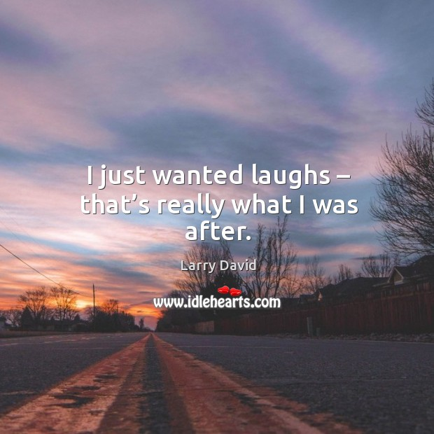 I just wanted laughs – that's really what I was after. Image