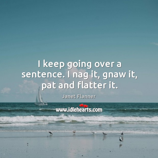 I keep going over a sentence. I nag it, gnaw it, pat and flatter it. Image