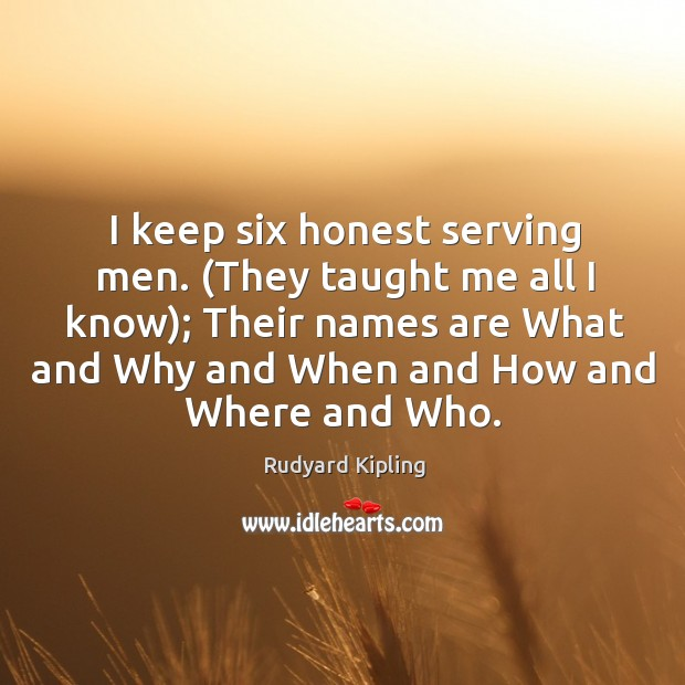Image, I keep six honest serving men. (they taught me all I know); their names are what and why.