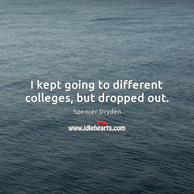 I kept going to different colleges, but dropped out. Image