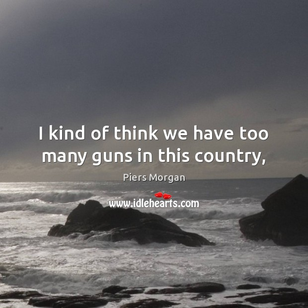 I kind of think we have too many guns in this country, Image