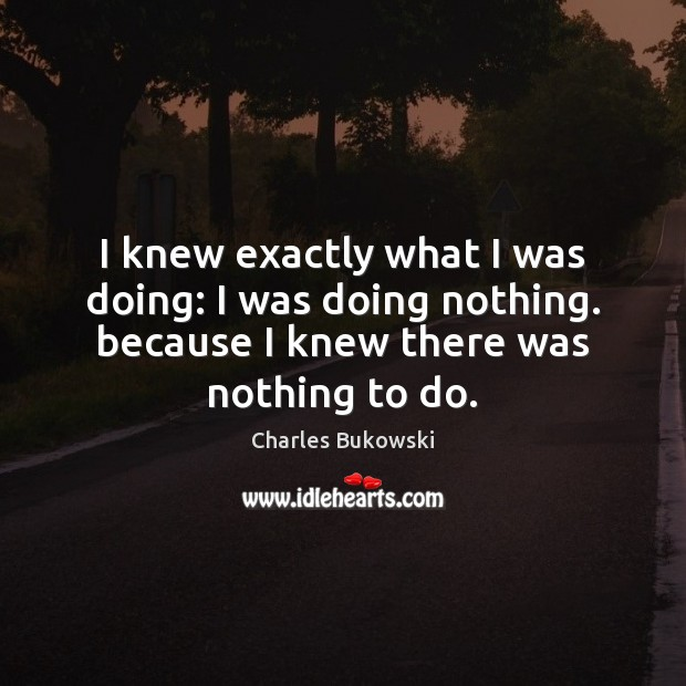 I knew exactly what I was doing: I was doing nothing. because Charles Bukowski Picture Quote