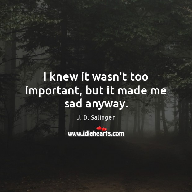 I knew it wasn't too important, but it made me sad anyway. J. D. Salinger Picture Quote