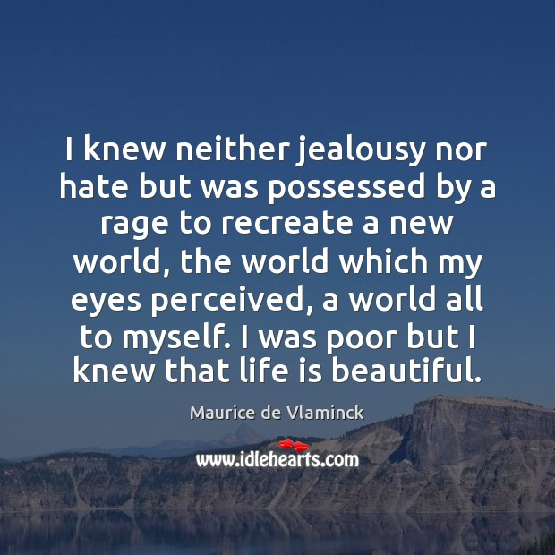 I knew neither jealousy nor hate but was possessed by a rage Life is Beautiful Quotes Image