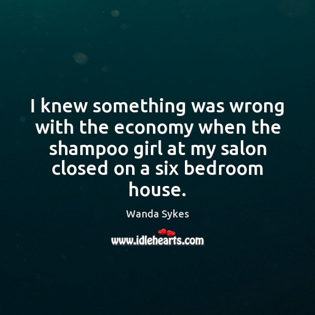 I knew something was wrong with the economy when the shampoo girl Wanda Sykes Picture Quote