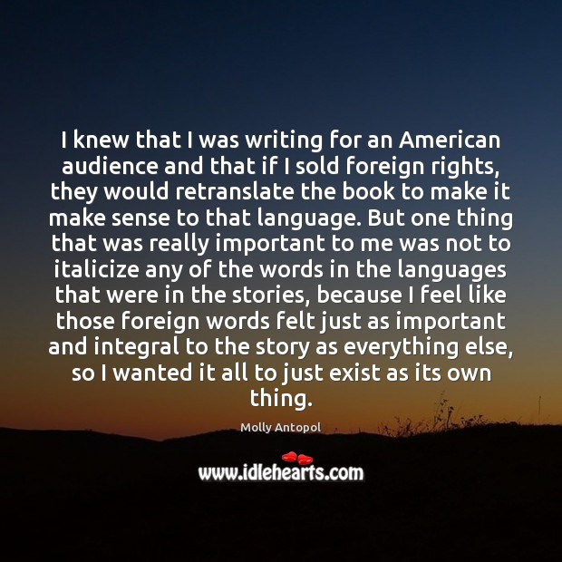 I knew that I was writing for an American audience and that Image