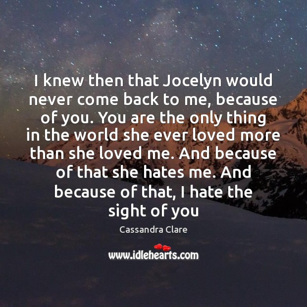 I knew then that Jocelyn would never come back to me, because Image