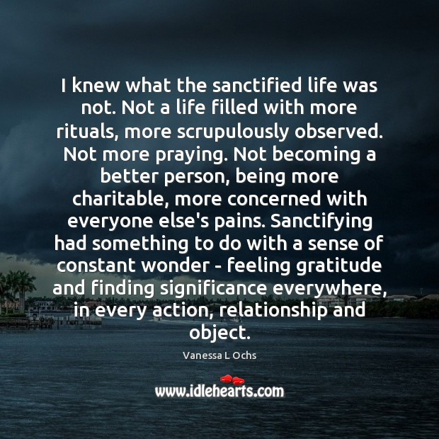 Image, I knew what the sanctified life was not. Not a life filled