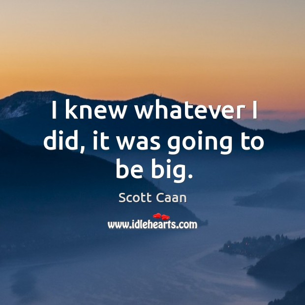 I knew whatever I did, it was going to be big. Scott Caan Picture Quote