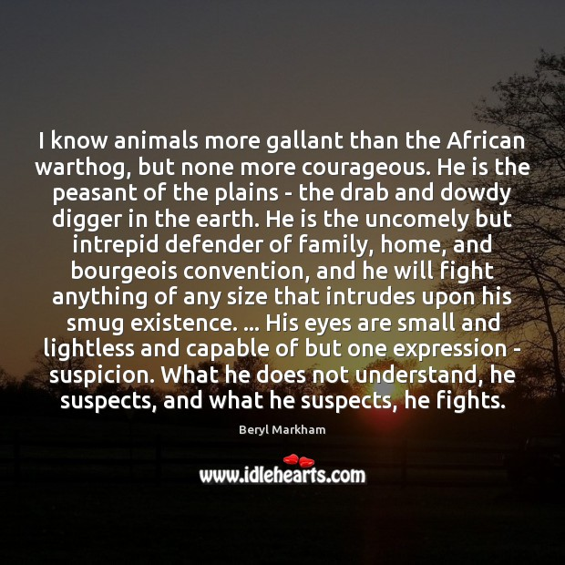 I know animals more gallant than the African warthog, but none more Beryl Markham Picture Quote