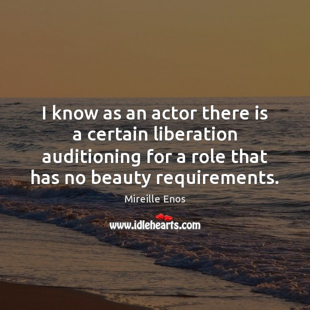 Mireille Enos Picture Quote image saying: I know as an actor there is a certain liberation auditioning for