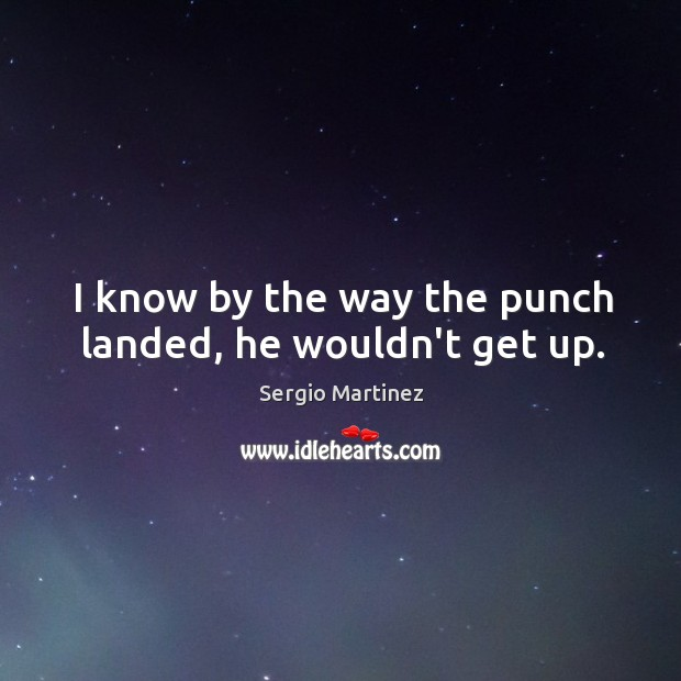 I know by the way the punch landed, he wouldn't get up. Sergio Martinez Picture Quote