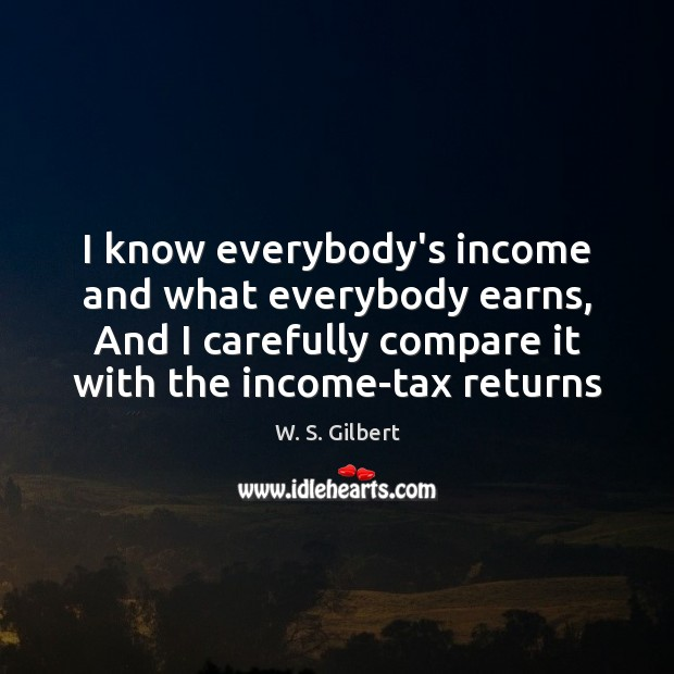 I know everybody's income and what everybody earns, And I carefully compare W. S. Gilbert Picture Quote