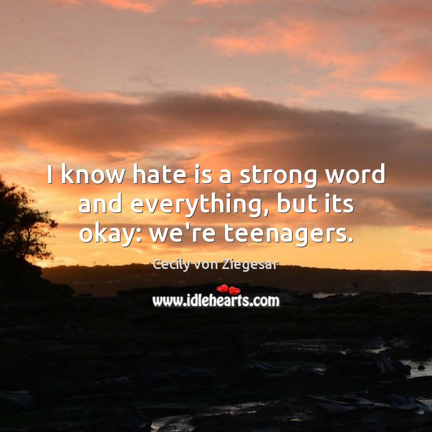 I Know Hate Is A Strong Word And Everything But Its Okay Were