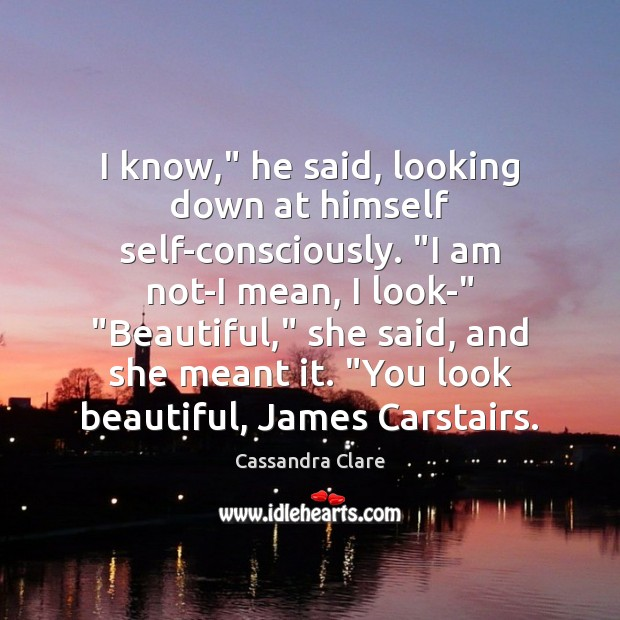 "I know,"" he said, looking down at himself self-consciously. ""I am not-I Cassandra Clare Picture Quote"