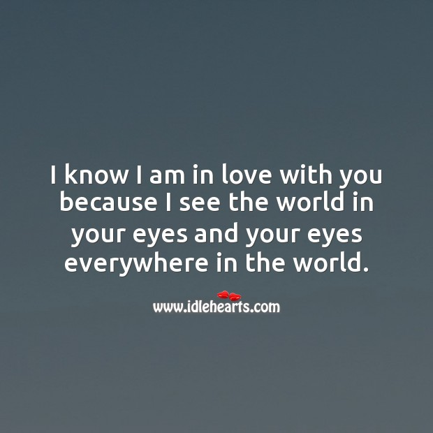 I know I am in love with you because I see the world in your eyes. Being In Love Quotes Image