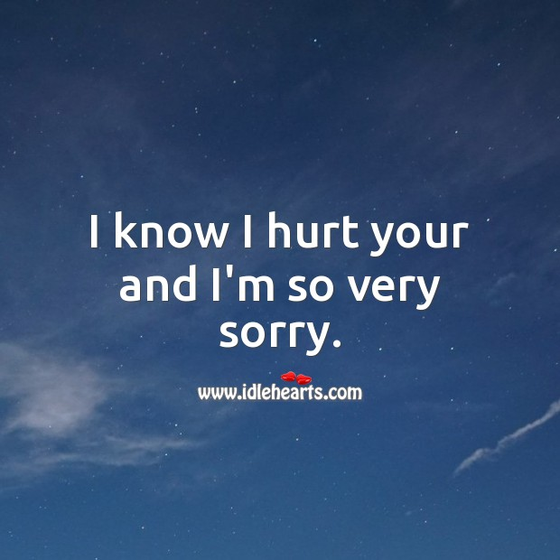 I know I hurt your and I'm so very sorry. Hurt Quotes Image