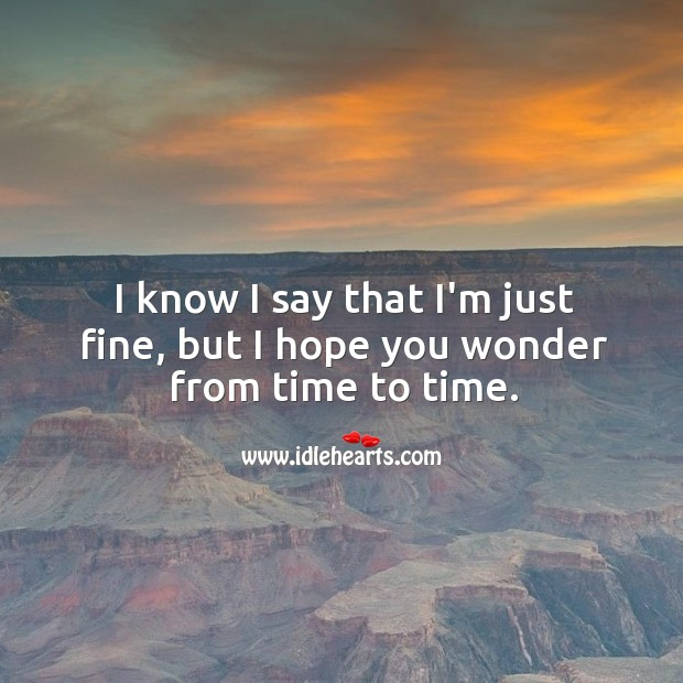Image, I know I say that I'm just fine, but I hope you wonder from time to time.