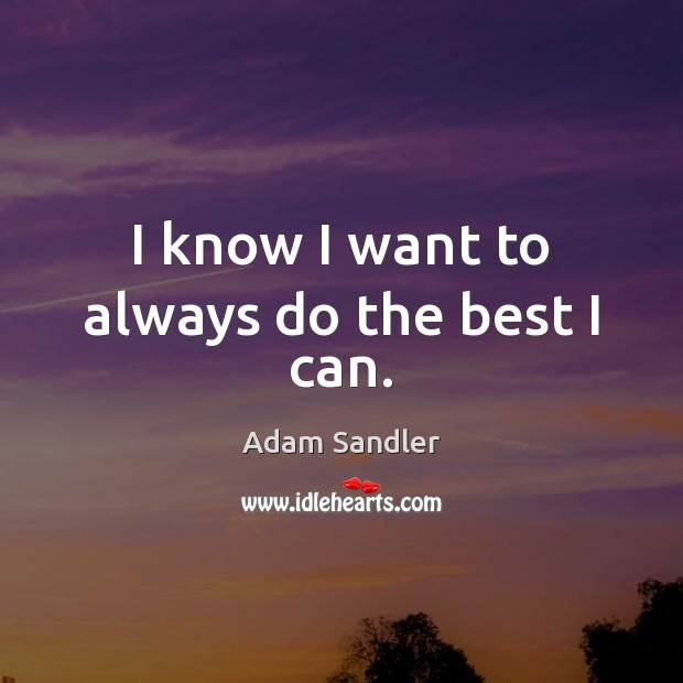 I know I want to always do the best I can. Adam Sandler Picture Quote