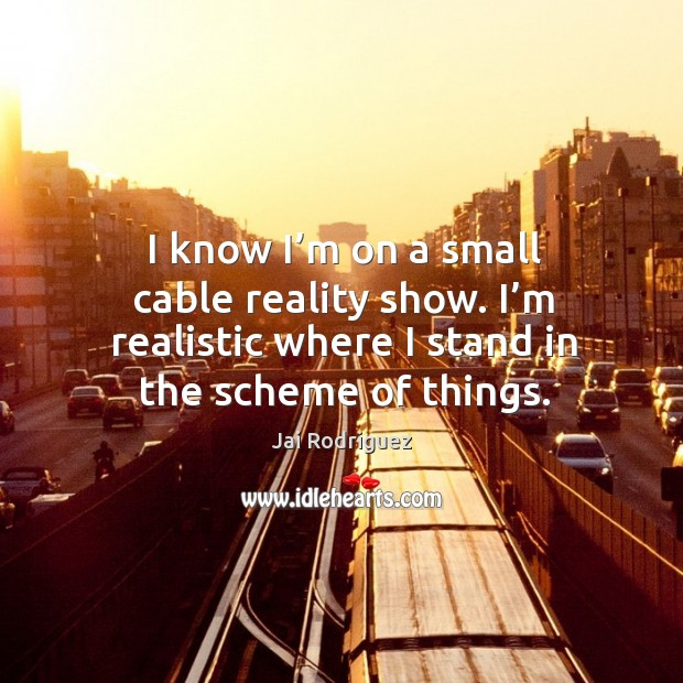 I know I'm on a small cable reality show. I'm realistic where I stand in the scheme of things. Jai Rodriguez Picture Quote