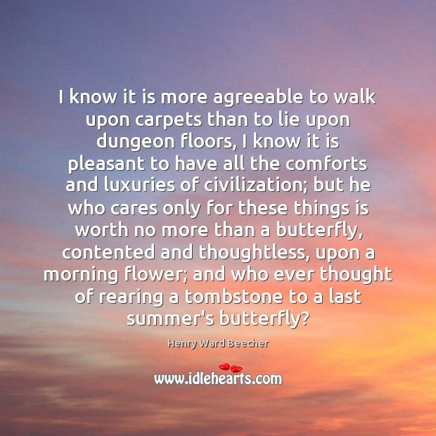 Image, I know it is more agreeable to walk upon carpets than to