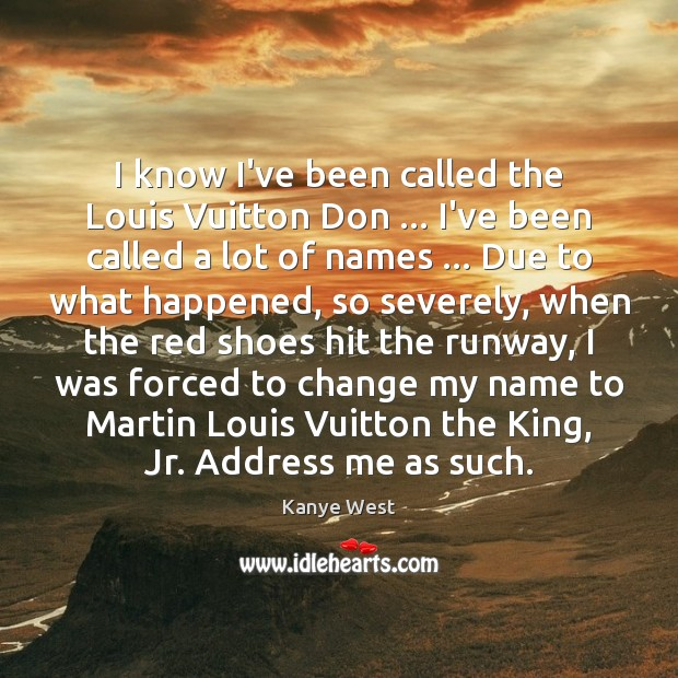 I know I've been called the Louis Vuitton Don … I've been called Image