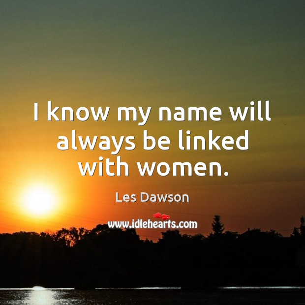 I know my name will always be linked with women. Image