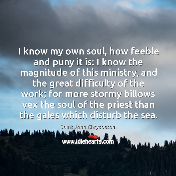 Image, I know my own soul, how feeble and puny it is: I know the magnitude of this ministry