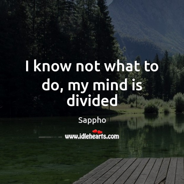 I know not what to do, my mind is divided Image