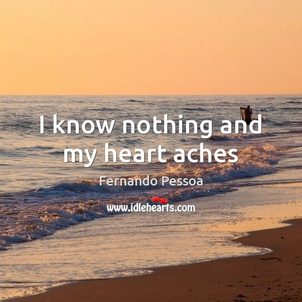 I know nothing and my heart aches Image