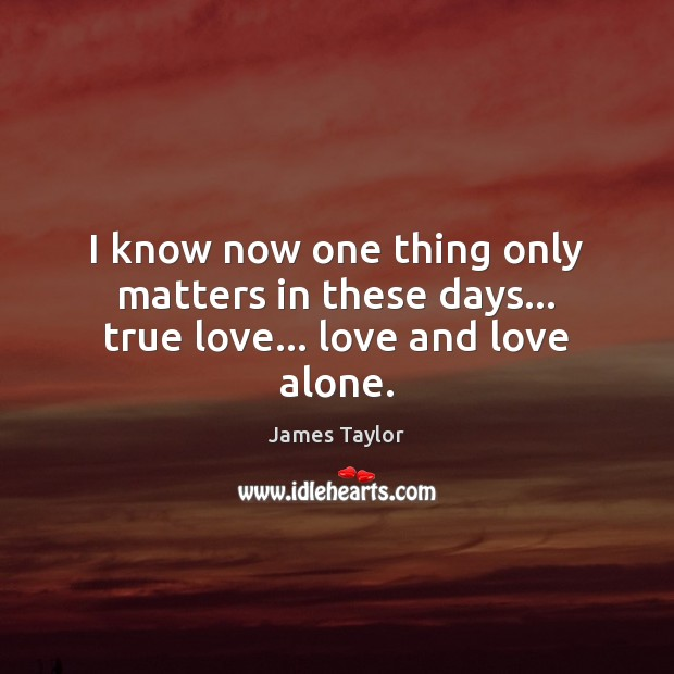 I know now one thing only matters in these days… true love… love and love alone. James Taylor Picture Quote