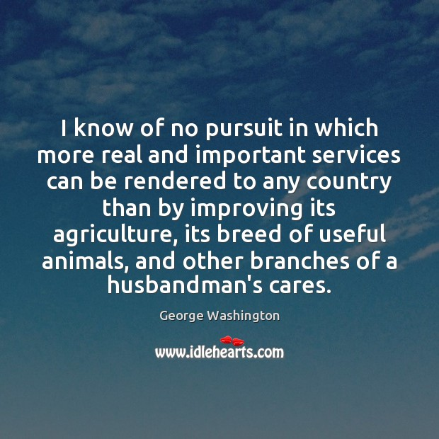 I know of no pursuit in which more real and important services George Washington Picture Quote