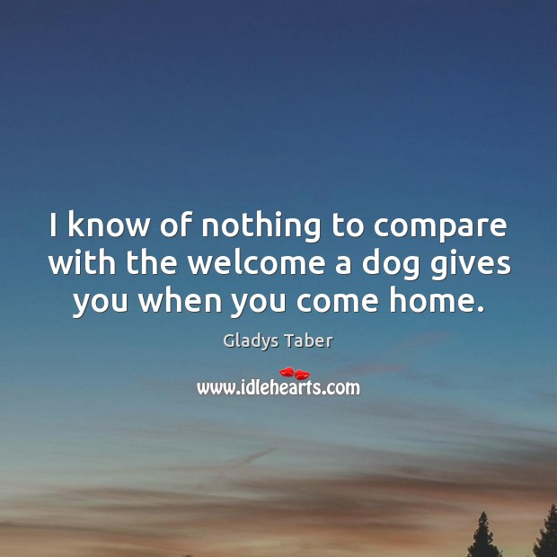 I know of nothing to compare with the welcome a dog gives you when you come home. Compare Quotes Image