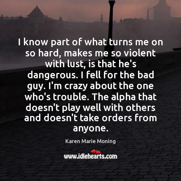 I know part of what turns me on so hard, makes me Karen Marie Moning Picture Quote