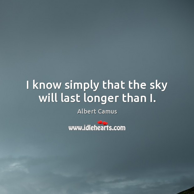 Image, I know simply that the sky will last longer than I.