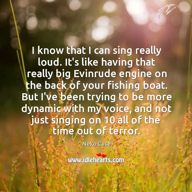 I know that I can sing really loud. It's like having that Image