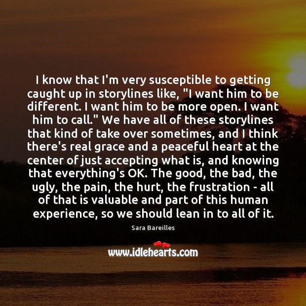 I know that I'm very susceptible to getting caught up in storylines Sara Bareilles Picture Quote