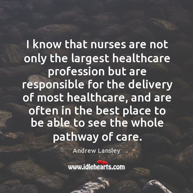 Image, I know that nurses are not only the largest healthcare profession but