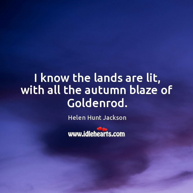 Image, I know the lands are lit, with all the autumn blaze of goldenrod.